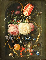 Still Life of Flowers in Glass Vase in Stone Niche