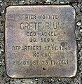 Stolperstein Ackerstr 83 84 (Gesbr) Grete Blum.jpg