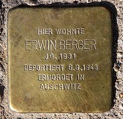 Photo of Erwin Berger brass plaque
