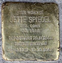 Photo of Jette Spiegel brass plaque