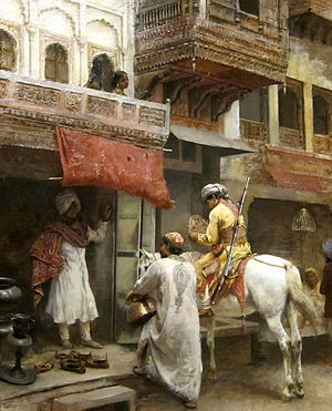 Bazaar - Troopers in the Bazaar, India, by Edwin Lord Weeks, 19th century