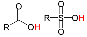Organic acid - The general structure of a few organic acids. From left to right: carboxylic acid, sulfonic acid. The acidic hydrogen in each molecule is colored red.