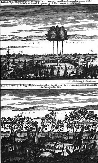 Battle of Brávellir - An image of the graves of Harald Wartooth and Ubbi by lake Åsnen in Småland from Suecia Antiqua et Hodierna.