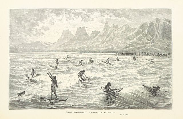 illustration from Captain Cook's Voyages round the World (1897) – Hawaiian Ancient Surfing