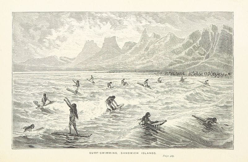 Captain Cook's Surf-Swimming, Sandwich Islands Illustration