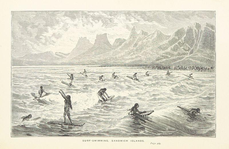 Captain Cook's Surf-Swimming, Sandwich Islands Illustration