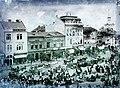 Széchenyi tér, középen az egyemeletes épület a Mészáros Ipartársulat székháza, ettől jobbra a Bányai-ház, a Toldalagi-ház és a ferences templom. Fortepan 86594.jpg