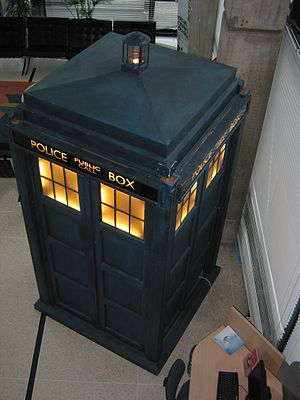A picture of the TARDIS as taken at BBC Wales ...