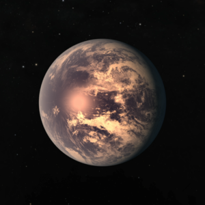 TRAPPIST-1e - Artist's impression of TRAPPIST-1e, depicted here as a tidally locked planet with a liquid ocean. The actual appearance of the exoplanet is currently unknown.