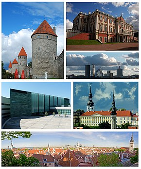 Clockwise from top right: Kadriorg Palace, Skyline of Tallinn, spires of St. Mary's Cathedral and Tallinn Town Hall, View of Tallinn Old Town, Kumu Art Museum, and Walls of Tallinn