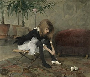 Helene Schjerfbeck - Dancing Shoes.  Oil on canvas, 1882