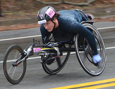 Tatyana McFadden near halfway point of Boston Marathon 2018 in which she got first place.