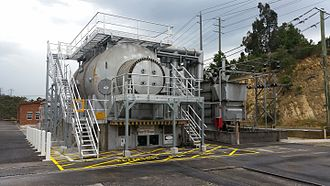 Synchronous condenser - Synchronous condenser installation at Templestowe substation, Melbourne, Victoria, Australia. Built by ASEA in 1966, the unit is hydrogen cooled and capable of three phase power at 125 MVA.