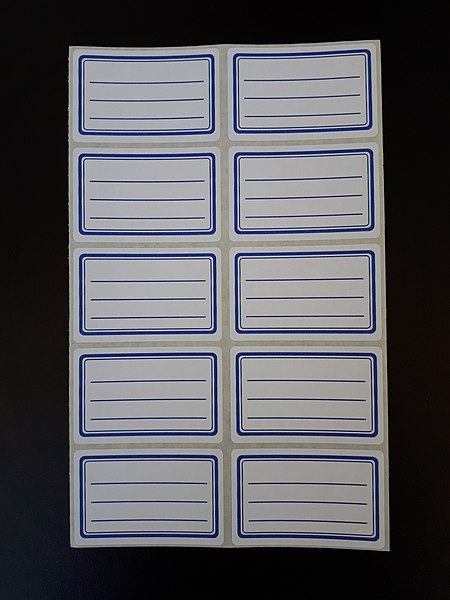 File:Ten sticky labels with blue frames.jpg - Wikimedia Commons