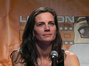 English: Actress Terry Farrell on stage at the...
