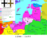The Livonian Order joined the Teutonic Order in 1237; the Monastic State of the Teutonic Order around 1455