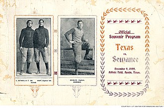 1899 Sewanee Tigers football team - Program from the Texas game.