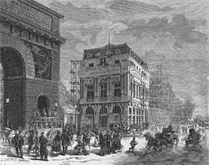 Théâtre de la Renaissance - Théâtre de la Renaissance (ca. 1873), with the Porte Saint-Martin to the left