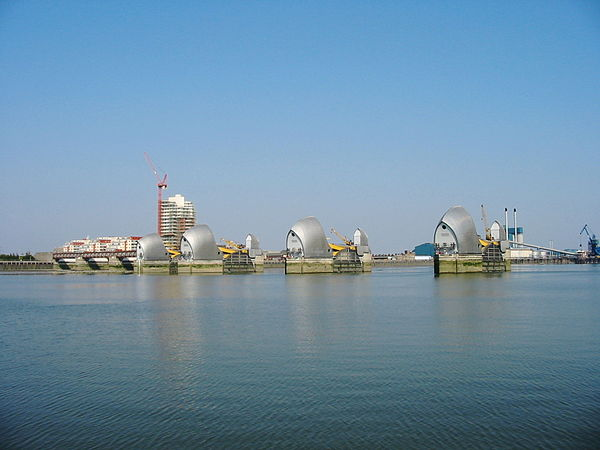 Far view of the River Thames Flood Barrier - Thames Barrier