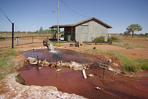 Great Artesian Basin - Hot water bore hole into the Great Artesian Basin in Thargomindah