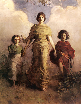Abbott Handerson Thayer - A Virgin (1892–93), painted allusion to Winged Victory of Samothrace
