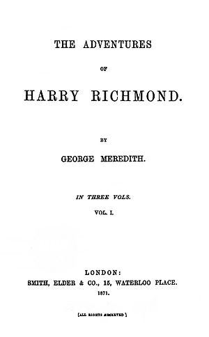 The Adventures of Harry Richmond - First edition title page