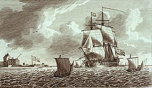 The Ajax, a Man of War, sailing into Portsmouth Harbour, with a View of South Sea Castle NMM PU7566 (cropped).jpg