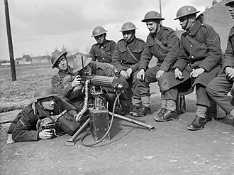 3rd Division (United Kingdom) - Troops from the 2nd Battalion, Middlesex Regiment, 3rd Division, training on the Vickers machine gun at Gondecourt, 21 March 1940.
