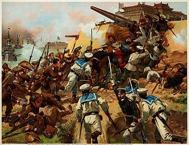 Illustration of the Battle of Taku Forts