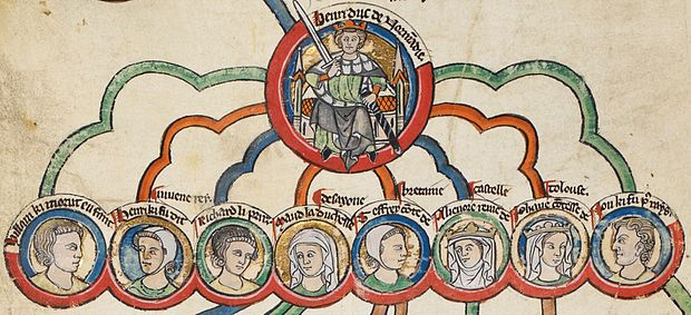 13th-century depiction of Henry II and his legitimate children: William, Henry, Richard, Matilda, Geoffrey, Eleanor, Joan and John The Children of Henry2 England.jpg