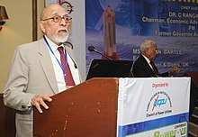 The Ex Chairman Atomic Energy Commission (AEC) and Member Planning Commission and presently Member, AEC, Dr. M.R. Srinivasan addressing at the India Power Awards 2011 ceremony, in New Delhi on November 24, 2011.jpg