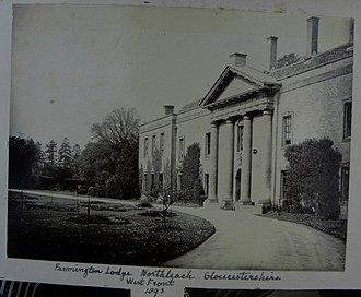 Farmington, Gloucestershire - Edmund Waller's (d.1898) Farmington Lodge, Northleach, Gloucestershire, west front, 1893.