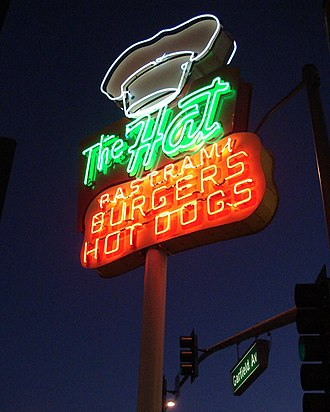 Alhambra, California - The Hat neon sign at Garfield Ave.