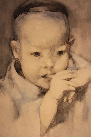 George Henry (painter) - The Japanese Baby by George Henry 1893 (watercolour)