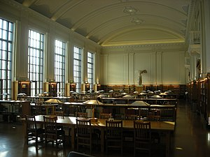William Oxley Thompson Memorial Library - Grand Reading Room with replica of Winged Victory of Samothrace statue