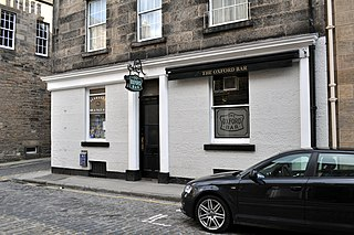 The Oxford Bar pub in City of Edinburgh, Scotland, UK