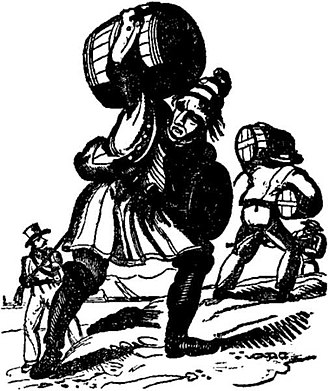 Rum - Pirates carrying rum to shore to purchase slaves as depicted in The Pirates Own Book by Charles Ellms