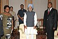 The Prime Minister, Dr. Manmohan Singh with the Vice-President, Zimbabwe, Ms. Joice Mujuru and the Prime Minister of Central African Republic, Prof. Faustin Archange Tauadera, in New Delhi on March 20, 2012.jpg