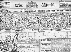 Elite - Political cartoon from October 1884, showing wealthy plutocrats feasting at a table while a poor family begs beneath