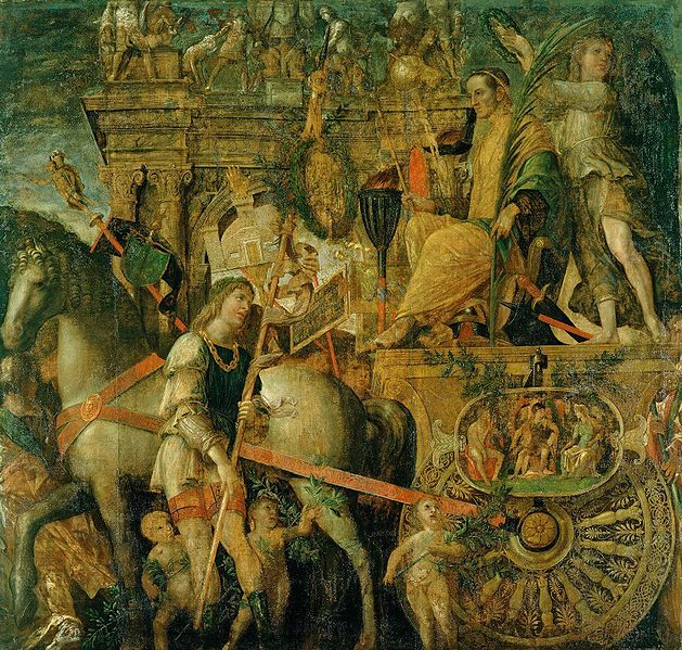 Archivo:The Triumphs of Caesar, IX - Julius Caesar on his triumphal chariot; Andrea Mantegna (1484-92).JPG