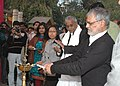 The Union Minister for Rural Development and Panchayati Raj, Dr. C.P. Joshi lighting the lamp to inaugurate the SARAS fair at Dilli Haat (from 19-28 January), in New Delhi on January 19, 2010.jpg