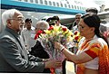 The Vice President, Mohammad Hamid Ansari being received by the Chief Minister of Rajasthan, Smt. Vasundhara Raje at Jaipur Airport on March 30, 2008.jpg