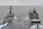 The guided missile destroyer USS McCampbell (DDG 85), left, conducts a replenishment at sea with Japan Maritime Self-Defense Force fast-combat support ship JS Hamana (AOE 424) during Pacific Bond 2012 June 7 120607-N-TG831-1264.jpg