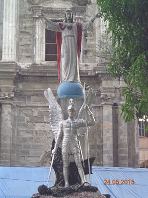 Camiling, Tarlac - One of the original images of St. Michael in the front of the destroyed church in Camiling