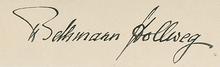 Signature of Theobald von Bethmann Hollweg