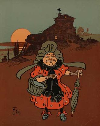"William Wallace Denslow -  Denslow's illustration for ""There was an Old Woman Who Lived in a Shoe"", from a 1901 edition of Mother Goose."