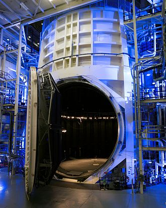 Thermal vacuum chamber - A thermal vacuum test chamber, with its door open, at NASA's Johnson Space Center.