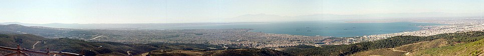 Panoramic view of the city from Kedrinos Lofos with Mount Olympus in the background.