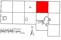 Location of Tiffin Township in Defiance County