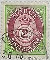 Timbre Norvege Cor postal bicolore.JPG